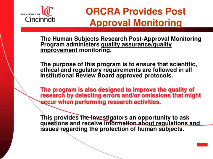 ORCRA Provides Post Approval Monitoring