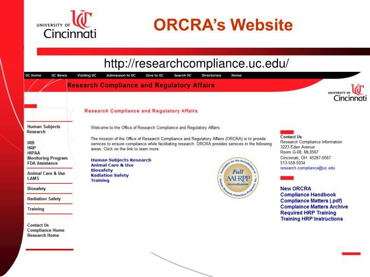 ORCRA's Website
