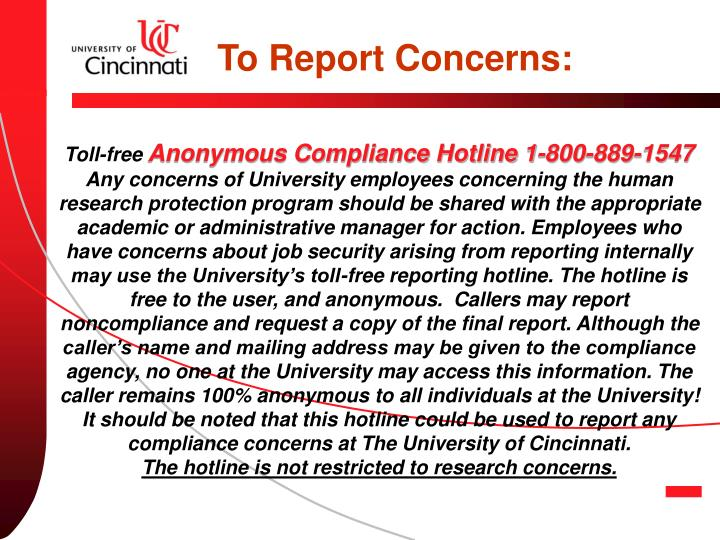To Report Concerns: