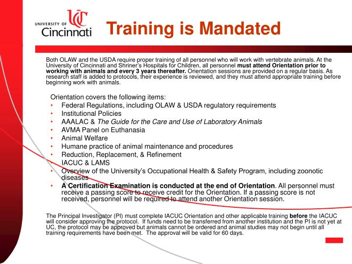 Training is Mandated