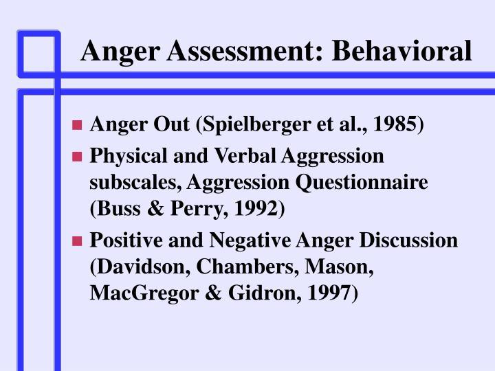 Anger Assessment: Behavioral