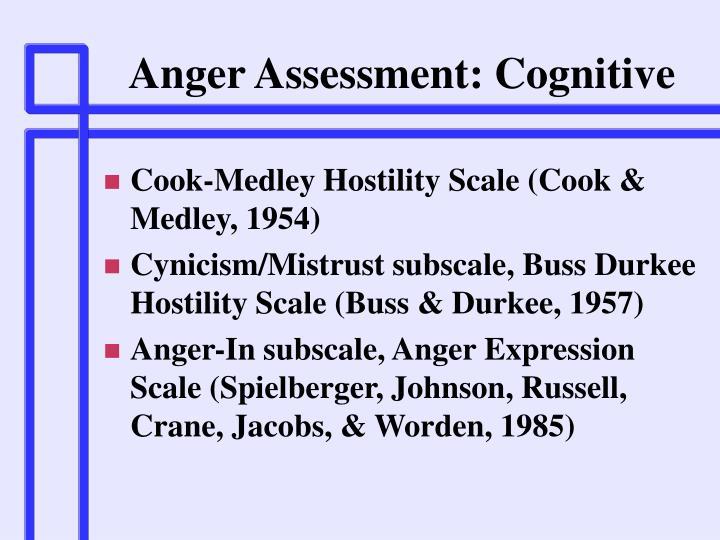 Anger Assessment: Cognitive