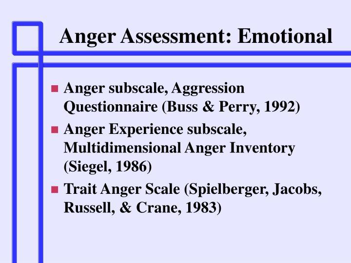 Anger Assessment: Emotional
