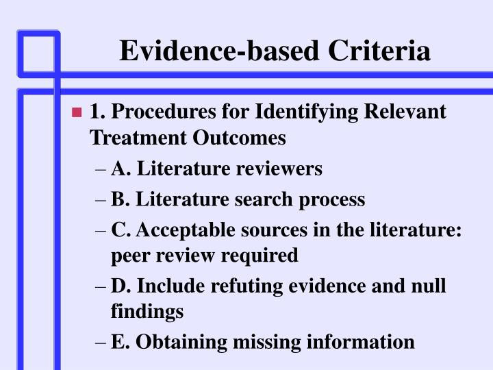 Evidence-based Criteria