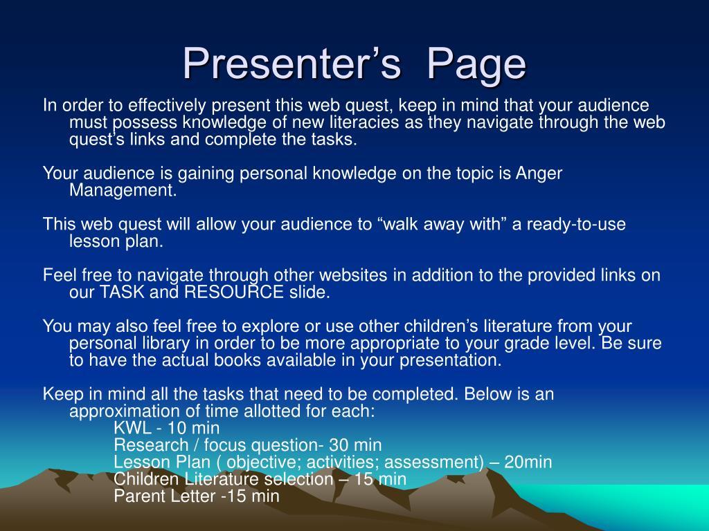 Presenter's  Page