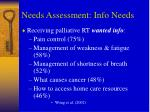 needs assessment info needs