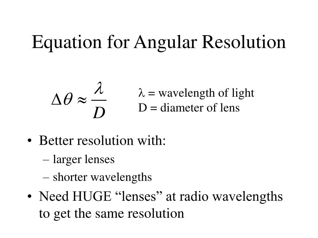 Equation for Angular Resolution