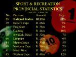 sport recreation provincial statistics 1 april 2007 31 march 2008