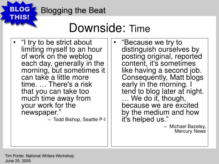 """""""I try to be strict about limiting myself to an hour of work on the weblog each day, generally in the morning, but sometimes it can take a little more time. … There's a risk that you can take too much time away from your work for the newspaper."""""""