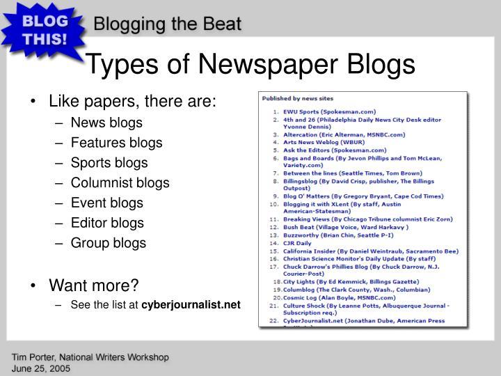 Types of Newspaper Blogs