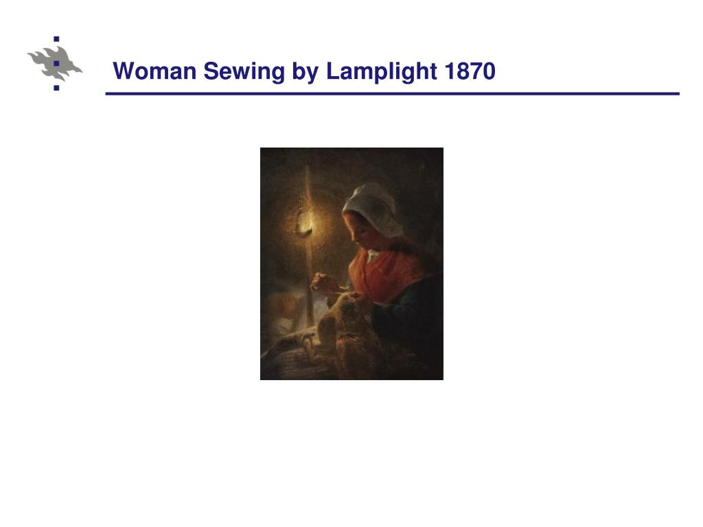 Woman Sewing by Lamplight 1870
