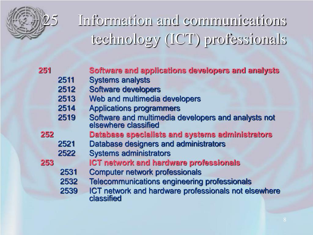25Information and communications technology (ICT) professionals
