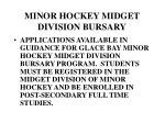 minor hockey midget division bursary
