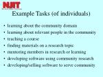 example tasks of individuals