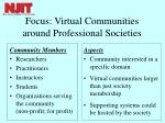 focus virtual communities around professional societies