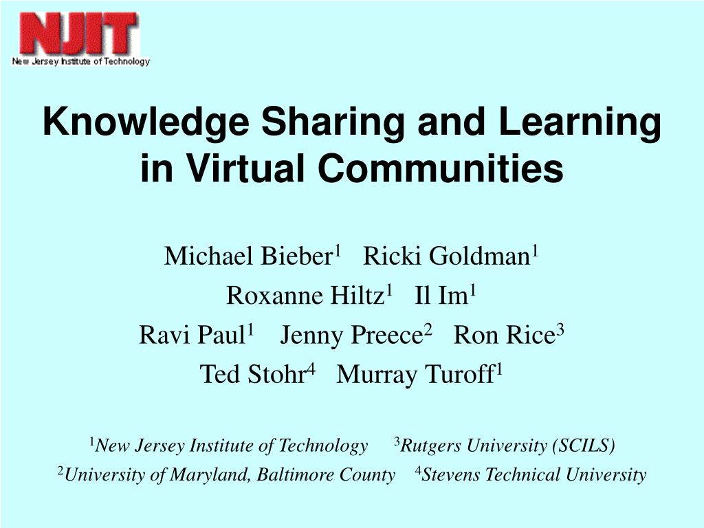 knowledge sharing and learning in virtual communities l.