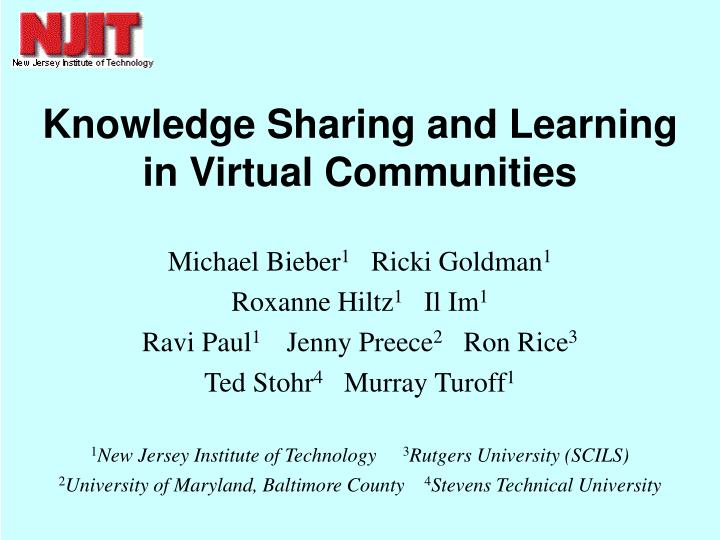 knowledge sharing and learning in virtual communities n.