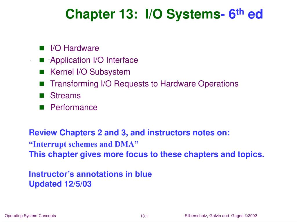 chapter 13 i o systems 6 th ed l.