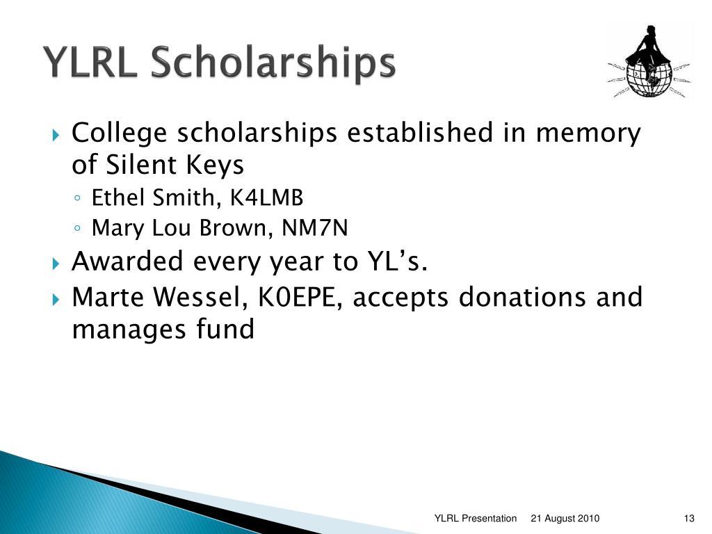 YLRL Scholarships