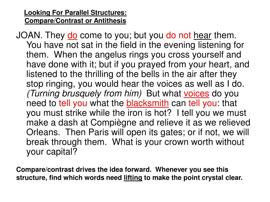 Looking For Parallel Structures: Compare/Contrast or Antithesis