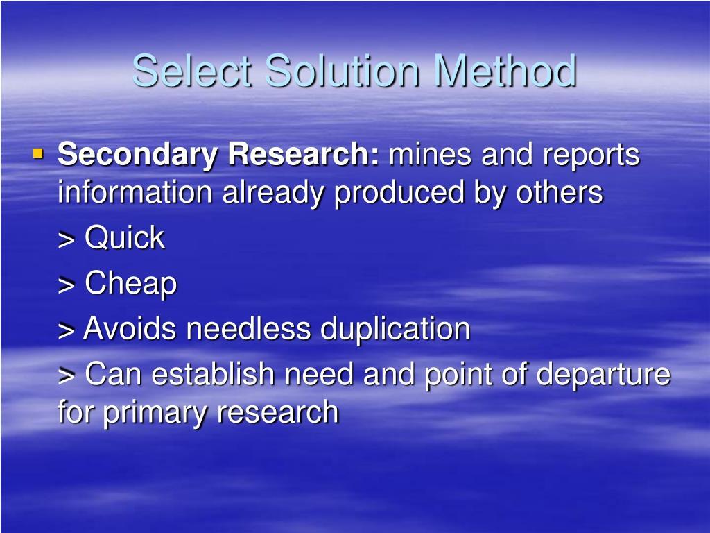 Select Solution Method