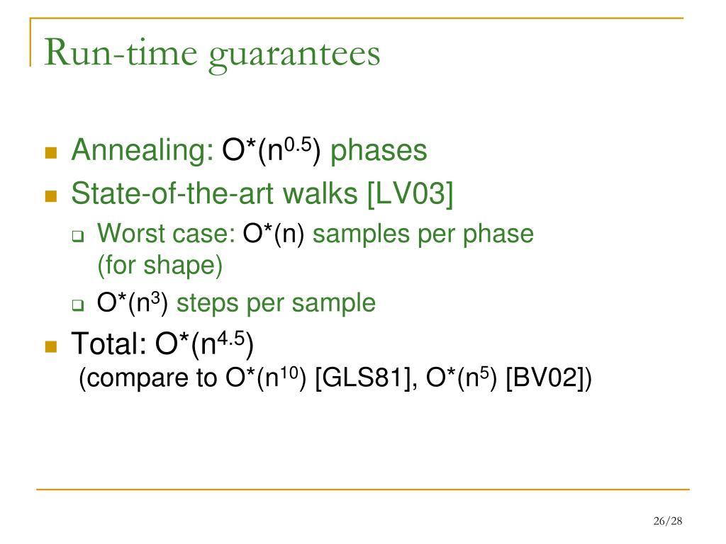 Run-time guarantees