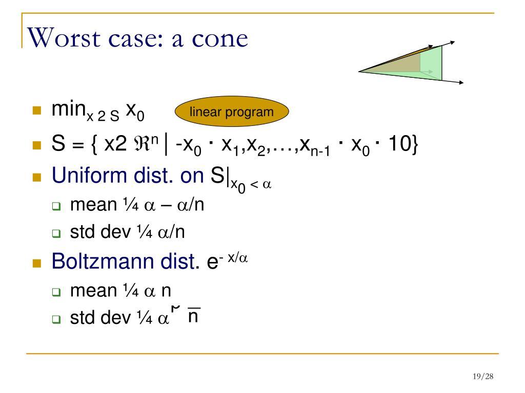 Worst case: a cone