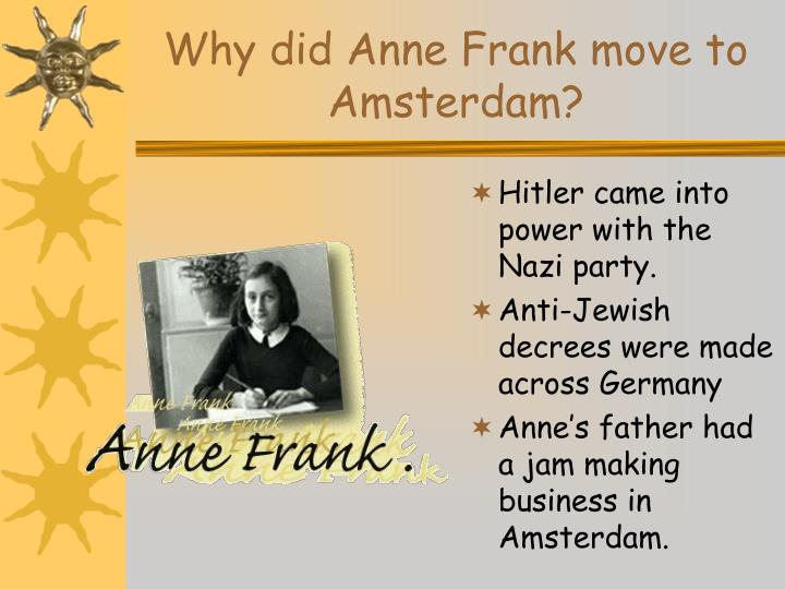 why did anne frank move to amsterdam n.
