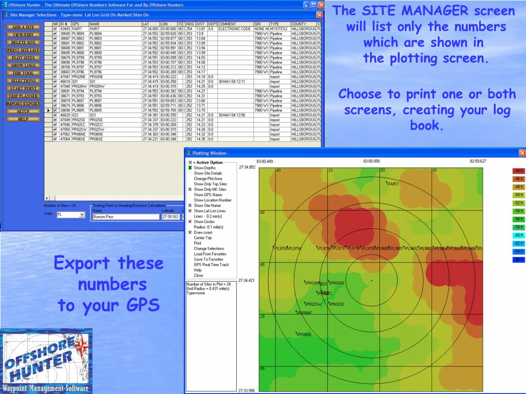 The SITE MANAGER screen