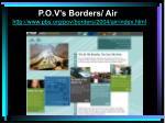 p o v s borders air http www pbs org pov borders 2004 air index html
