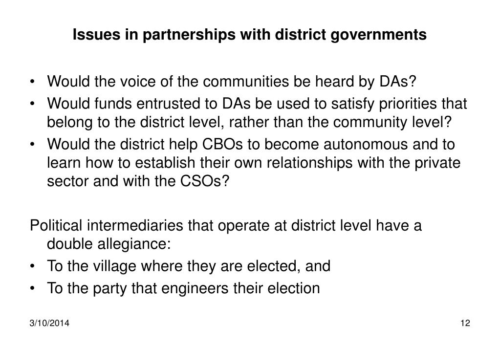 Issues in partnerships with district governments