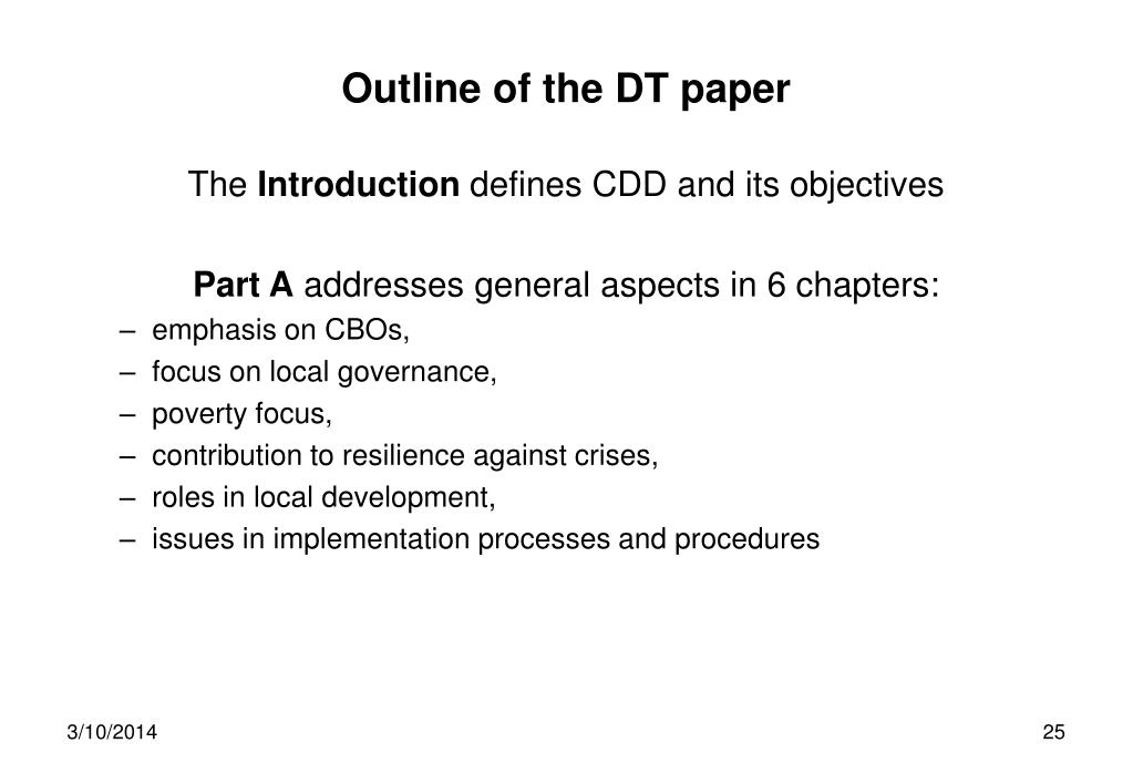 Outline of the DT paper