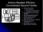 actions needed efficient consolidated second facility
