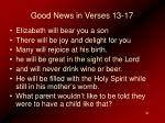 good news in verses 13 17