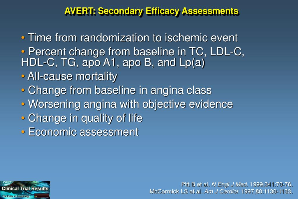 AVERT: Secondary Efficacy Assessments
