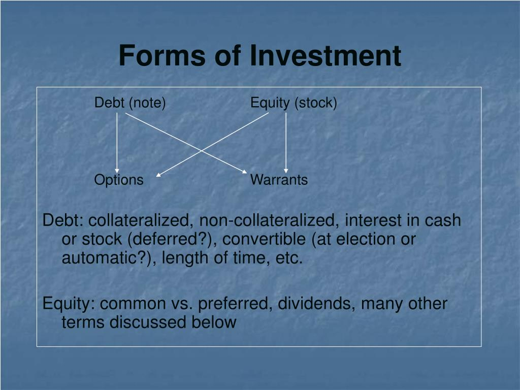 Forms of Investment