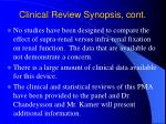 clinical review synopsis cont