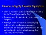 device integrity review synopsis