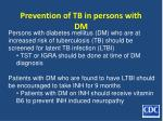 prevention of tb in persons with dm