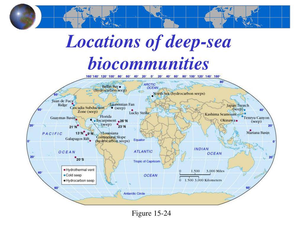 Locations of deep-sea biocommunities