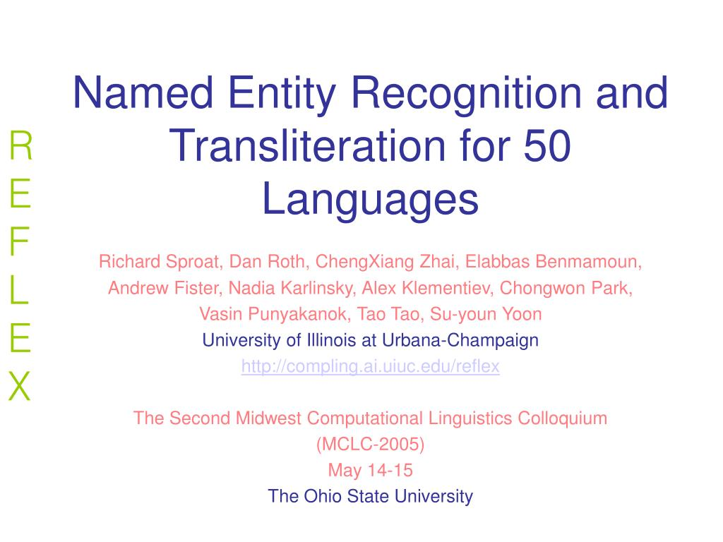 named entity recognition and transliteration for 50 languages l.