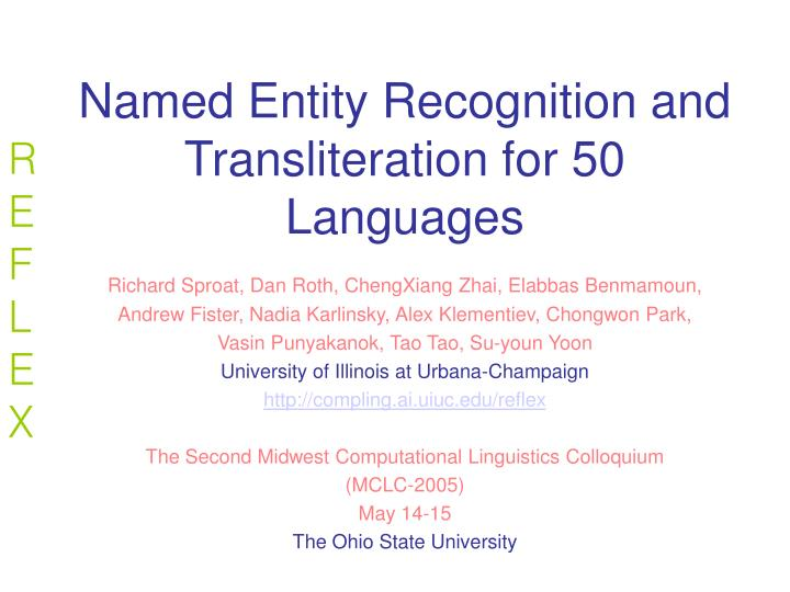 named entity recognition and transliteration for 50 languages n.