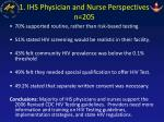 1 ihs physician and nurse perspectives n 205