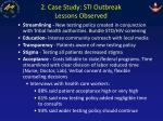 2 case study sti outbreak lessons observed