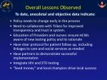overall lessons observed