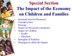 special section the impact of the economy on children and families