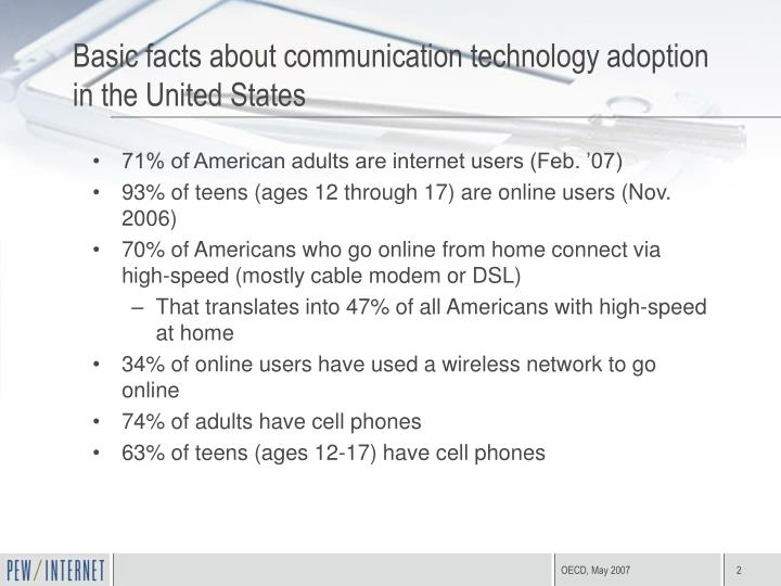 Basic facts about communication technology adoption in the united states