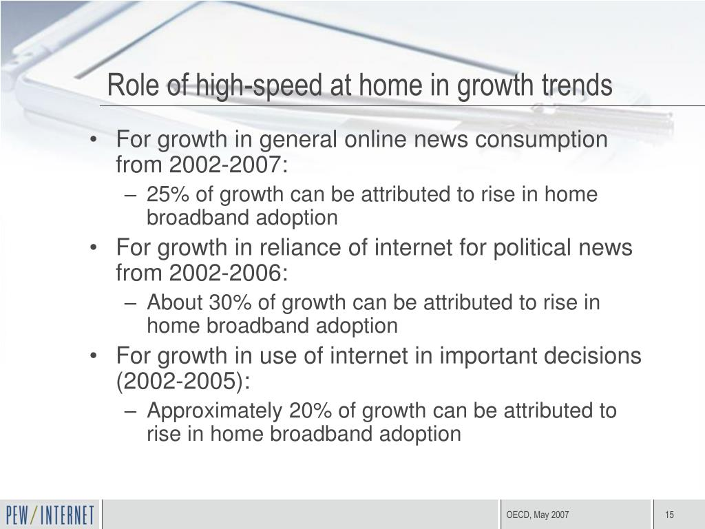Role of high-speed at home in growth trends