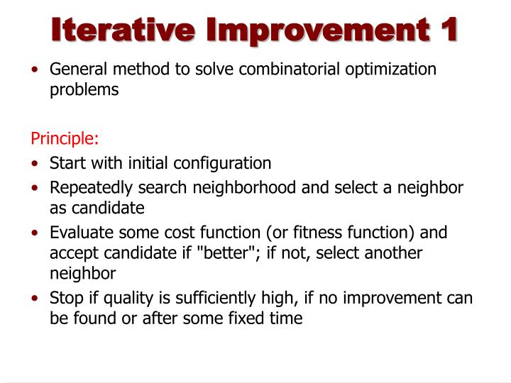 Iterative improvement 1