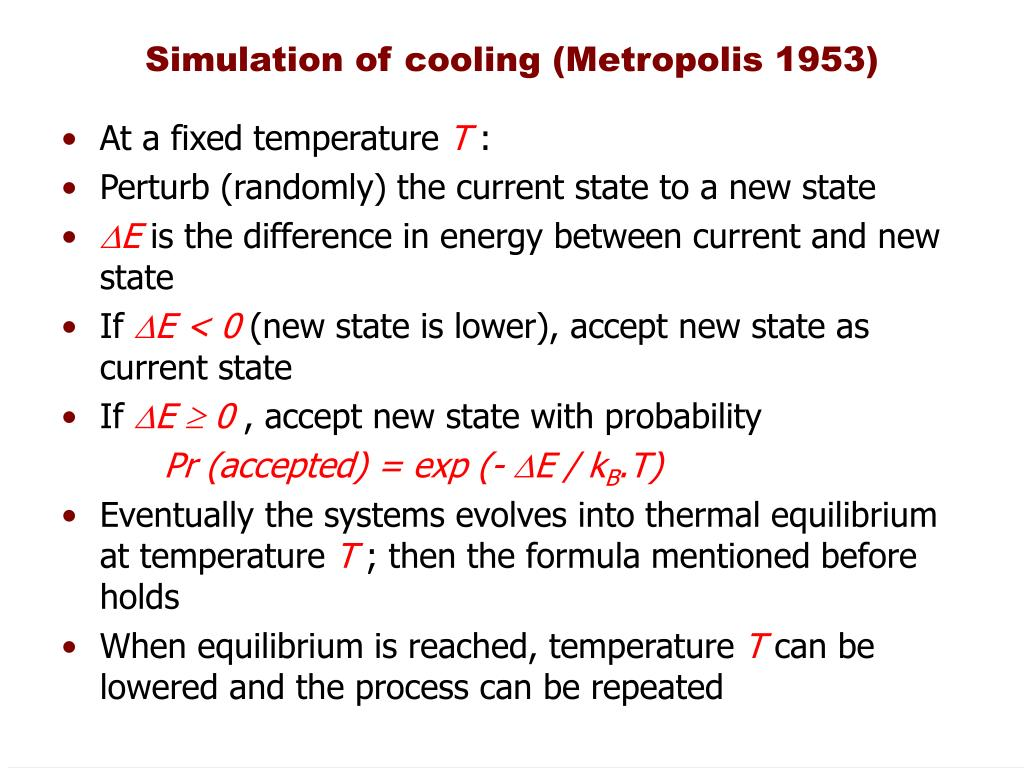 Simulation of cooling (Metropolis 1953)